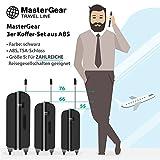 MasterGear - Ensemble de 3 valises ABS à fermeture éclair ultra légère et mobile - 4 roulettes (360 °) - Valise à roulettes, valise rigide, cadenas TSA, emboîtables - tailles S, M, L - Plusieurs Coloris disponibles