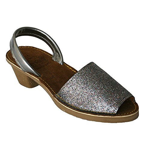 15010G - Sandalia ibicenca glitter tacón platino