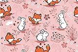 Die Stofftante / Baumwolljersey/Bunny and Fox/rosa / 50x150 cm