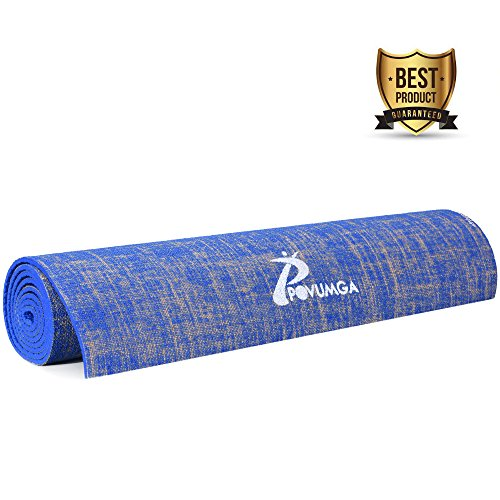 Esterilla de ejercicio para yoga, ecológica, con bolsa de transporte, antideslizante, con PVC absorbente del sudor, con forro, para yoga, gimnasio, pilates, entrenamiento, sentadillas, estiramientos, de 183cm x 61cm x 5mm, de Povumga , azul