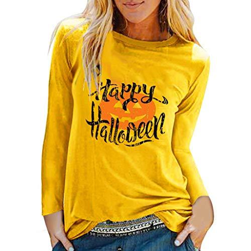 Longzjhd Damen Halloween Weihnachten Kostüm,Frauen Halloween Weihnachten Langarm Sweatshirt Pullover Tops Damen Lose Casual Pumpkin Bluse T Shirt Oberteile Top Loose T-Shirt Blouse (80's Kostüm Mit Leggings)