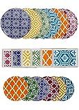 Porland Morocco Set di 18 Pezzi per la Cena - 6 Piatti di Servizio - 6 Piatti per Dolci - 6 Piatti per la Colazione - 6 Colori Diversi