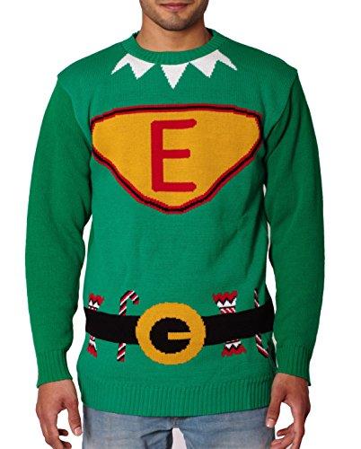 NOROZE Herren Unisex Retro Hässlich Frech Gestrickt Weihnachten Pullover strickpullover Top Grün