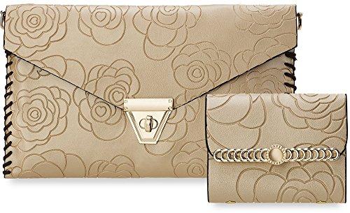 3-er SET einzigartige Damentasche + Clutch + Etui für Visitenkarten Kreditkarten 3 in 1 Handtasche mit Blumen - Prägungen (schwarz) schwarz