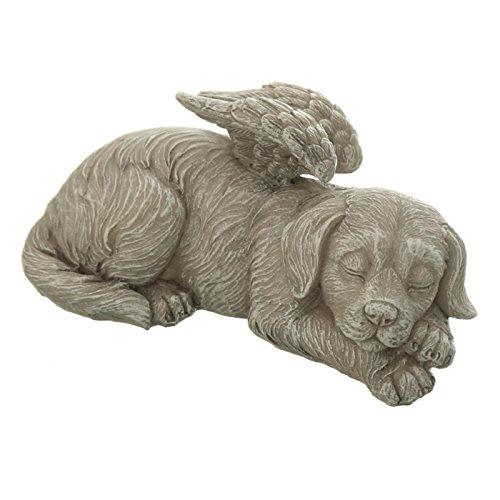 Grabschmuck Hunde Figur Engel liegend schlafend, Kunststein. 15cm. 1 Stück (Engel Hund Figur)