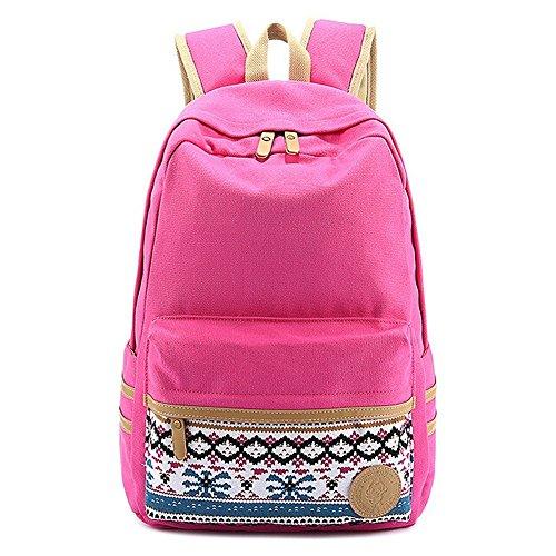 Butterme koreanischen Weinlese-Streifen-Segeltuch-Rucksack-Rucksack Daypack Shcool Bag College Tasche für Teenage Mädchen Jungen Hot Pink