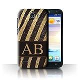 eSwish Personalizzato Modello Stampa Animale Moda Personalizzare Custodia/Cover per Huawei Ascend G730 / Zebra Glitter Oro Design/Iniziale/Nome/Testo Caso/Cassa