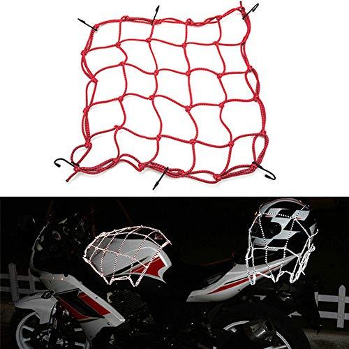 znwiem 1/2-teiliges Motorrad-Netz für Helm, Tank, Gepäck, Netz, elastisch, reflektierend, mit Haken, elastisch, dehnbar mit für Fahrrad, ATV, LKW, Natürliches Gummi, rot, 1PC (Gas-tank-schneemobil)