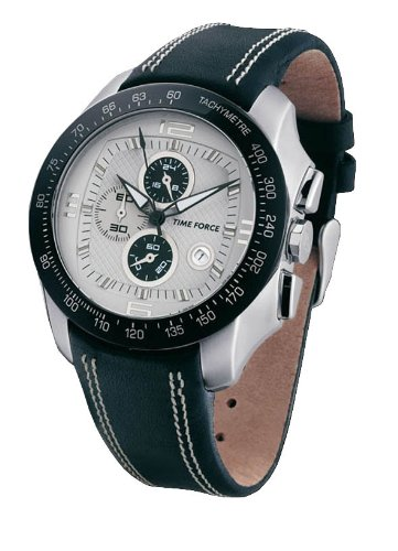 time force men's analog quartz watch with white dial and black leather strap - tf2907m10