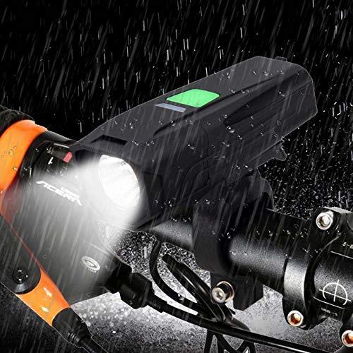 DZLXY Fahrrad-Licht, super helle USB aufladbare LED-Beleuchtungen wasserdichte Taschenlampe für Night Rider Fahrradzubehör Passend für alle Fahrräder,Schwarz