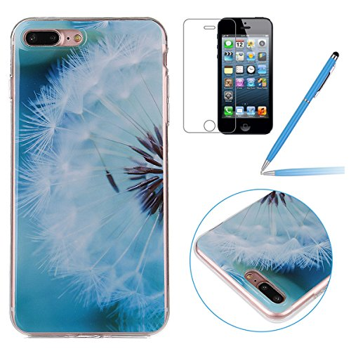 iPhone 7 Plus Hülle,iPhone 7 Plus Case,iPhone 7 Plus Silikon Cover - Felfy Ultra Dünne Slim Full Body Soft Gel TPU Silikone Case Schöne Bunte Muster Design Case Rückschale Schutz Anti Scratch Tasche d Löwenzahn