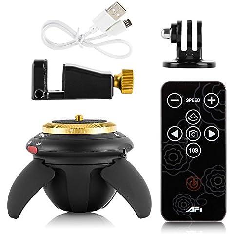 Mini 360 ° cabeza panorama eléctrico, cabeza de trípode Bluetooth inalámbrico con mando a distancia para los teléfonos inteligentes autofoto del palillo de la cámara GoPro acción de la cámara de bolsillo micro de la cámara SLR, Android, IOS teléfonos