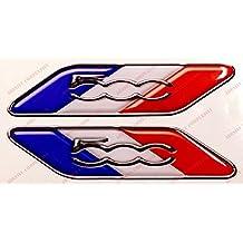 Logo Fiat 500 par Bandera Francia. Pegatinas resina, efecto 3d. Banderas Tricolor para