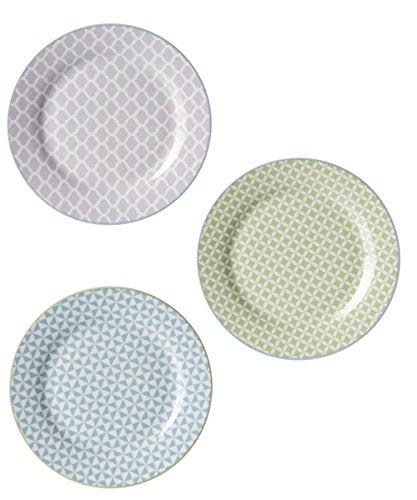 R&B Teller Pastell Mix 3er Set Frühstücksteller Brotteller Kuchenteller lila grün blau Shabby Vintage ausgefallen -