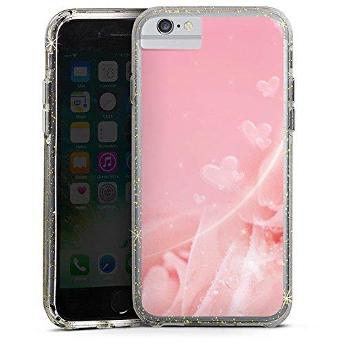 Apple iPhone 6s Plus Bumper Hülle Bumper Case Glitzer Hülle Rose Blumen Flowers Bumper Case Glitzer gold
