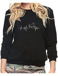 150b9c273078 Amlaiworld Sweatshirts Niedlich Pferd und Radiowellen Druck Sweatshirt  Damen Mode locker Pullover warm weich Herbst Winter