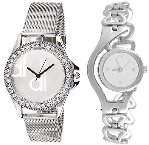 Fashion Now Analogue White Dial Combo Of Women's & Girl's Watch (Dk_Chain_Silver016)