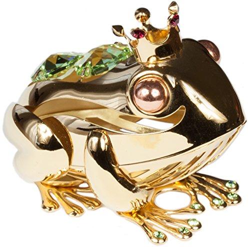 Frosch mit Krone Kristall Glas Figur 24k goldüberzogen MADE WITH SWAROVSKI ELEMENTS (Frosch-figuren Sammlerstücke)
