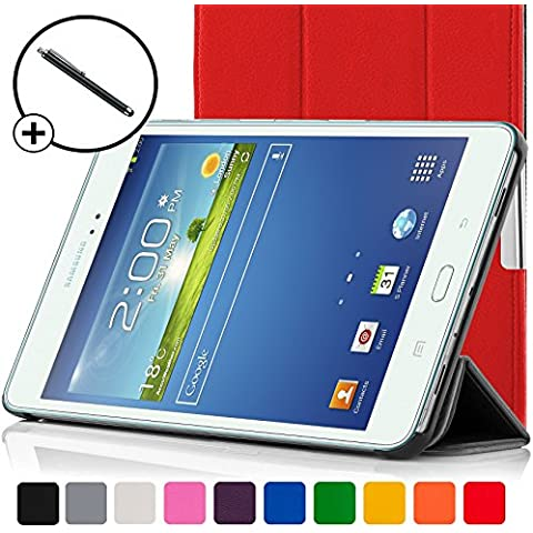 ForeFront Cases®–Case con soporte funda de piel sintética para Samsung Galaxy Tab 38.08GB 3G + WiFi–con Magnético Auto de función de reposo–Incluyen lápiz rojo rojo Galaxy Tab 3