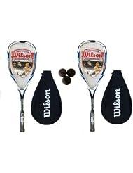 Wilson Hyper Hammer Carbon 120 - Juego de 2 raquetas y 3 pelotas de squash, color azul