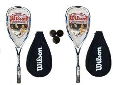 2x Wilson Hiper Martillo CARBONO 120 Azul Raqueta de squash + bolas de 3 Calabaza - Construcción: 100% híper carbono. - Peso del bastidor: 120g. - Precio recomendado de venta: £150.
