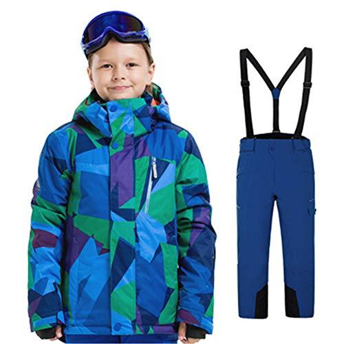 J.SPG Conjunto de Ropa de esquí para, Adecuado para 8-15 años Niños y Niñas Fibra de Poliester Chaqueta +Correa Desmontable Pantalon Tamaño,C,M