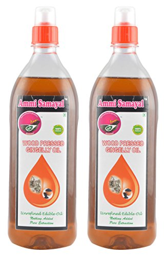 Ammi Samayal Wood Pressed (cold press) Gingelly Oil, 1 L (Pack of 2)