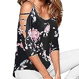 BHYDRY T-Shirt-Oberteile Damen Lose Ausgehöhlte Schulter Blumendruck Bluse Tops(Large,Schwarz)
