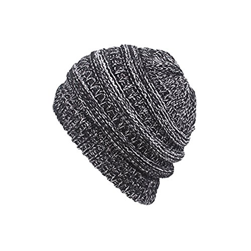 1 Muster-hand-fan (Aliyao Woman Hüte Winter Crochet Hat Soft Knit Beanie Warm Cap with Ponytail Hole (Gray))