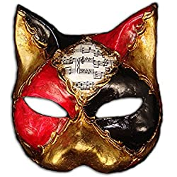 Máscara de gato veneciano de media cara Gatto Ron para Mujeres