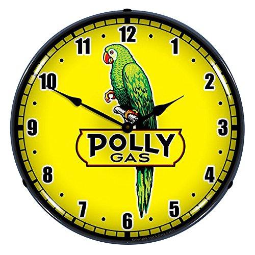Collectable Sign and Clock Polly Gas 2 Wanduhr, beleuchtet, für Garage, Büro, Sammlerstück - Neon Clock-garage Sign
