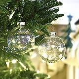Valery Madelyn 6pcs Bolas de Navidad de Cristal de 8cm, Adornos de Navidad para Árbol de Vidrio de Iridiscente Transparente, Bolas de Navideños Decoración para Colgante (Invierno Espumoso)