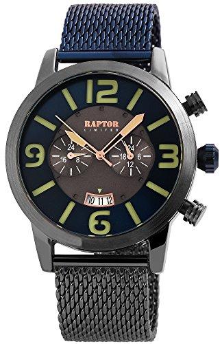 Raptor Limited Herrenuhr mit Meshband aus Edelstahl Hakenverschluss Quarz Rund Armbandlänge 19.5cm (Blau)