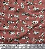 Soimoi Marron Mousse Georgette en Tissu Feuilles, Mouron & Colibri Oiseau Tissu a Coudre Imprime par Metre 42 Pouce Large