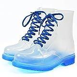 Outry Damen Regenstiefel Kurzschaft Stiefel Gummistiefel Gummistiefeletten Boots, Rain Boot Regenstiefelette Gummistiefelette Reitstiefelette Stiefel (EU38, Stiefel-Blau)