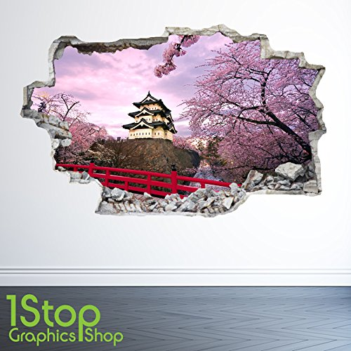 1Stop Graphics Shop CHINESE TEMPLE WALL STICKER 3D LOOK - BEDROOM LOUNGE ANCIENT CITY WALL DECAL Z27 Size: Medium