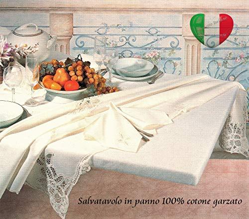 SpazioTessile Copritavolo Mollettone Salvatavolo Rettangolare 100% Cotone Garzato con Elastico (120x240 (x tavoli 90x200))