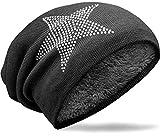 NavyBlu® langes Slouch Beanie Mütze in Feinstrick mit Teddyfleece Innenfutter Sternstrass schwarz M024