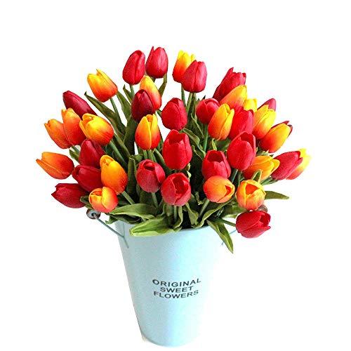 LOTONJT Tulpe künstliche Blumen mit Blätter Dekoriere Kunstblumen Latex Real Touch Bridal Wedding Bouquet Party Blumenschmuck Home Decor 10 Stück (Orange) (Mittelstücke Wedding Der Rote)