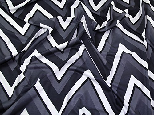 Große Zig Zag Chevron Print Stretch Jersey Knit Kleid Stoff schwarz, weiß & grau, Pro Meter