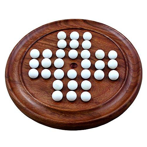 Solitär aus Holz Reise Brettspiele mit 36 weißen Glas Murmeln