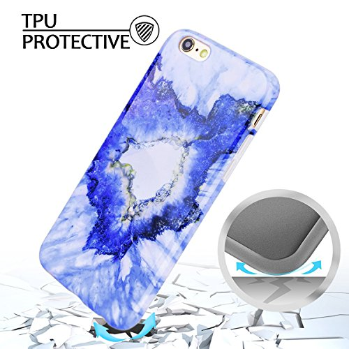 iPhone 6S Plus Tasche , iPhone 6 Plus Tasche , Marmor Hülle Flexible Silikon Schutz HandyHülle Ultradünn Weich TPU Rückseite Protective Abdeckung Case Telefonkasten Muster Stein Hülse Gel Gummi Malere Blau