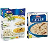 GITS Instant Ready Meals JEERA Rice 190G with DAL TADKA 185G and KHEER Mix Vermicelli 100G (Pack of 2)