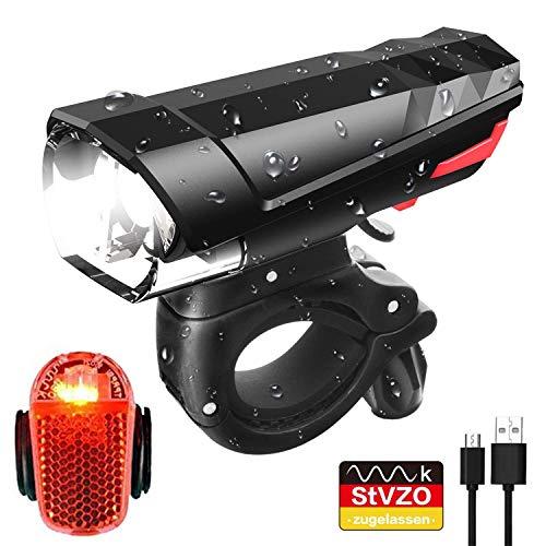Sportout Fahrradlicht,StVZO Zugelassen Fahrradlichter Set, LED Fahrradlicht, Wasserdicht USB Aufladbare Fahrradbeleuchtung Staubdicht Fahrradlampe inkl.Frontlicht und Rücklicht Energiesparend