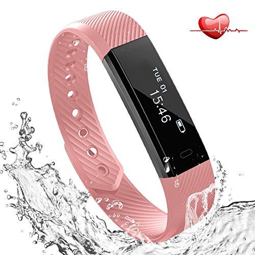 Fitness Tracker mit Herzfrequenz Pulsmesser Uhr, Lemebo Bluetooth 4.0 Fitnessaufzeichnung IP67 Wasserdicht Smart Armband mit Blutdruck Schritt Tracker Schlaf-Monitor Kalorienzähler Schrittzähler Uhr für Android und iOS Handys (Pink)