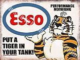 Esso Mettre un Tigre dans votre réservoir, Essence Huile Classique Garage Métal/Enseigne Mural En Acier - 15 x 20 cm