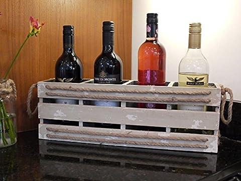 Vintage Rustic Wooden 4 Wine Bottle Holder Carrier Storage Crate