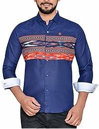 PP Shirts Men Blue Coloured Printed Casual Shirt (PP1217118)