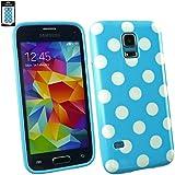Emartbuy® Samsung Galaxy S5 Mini SM-G800 Polka Dots Gel Hülle Schutzhülle Case Cover Blau / Weiß