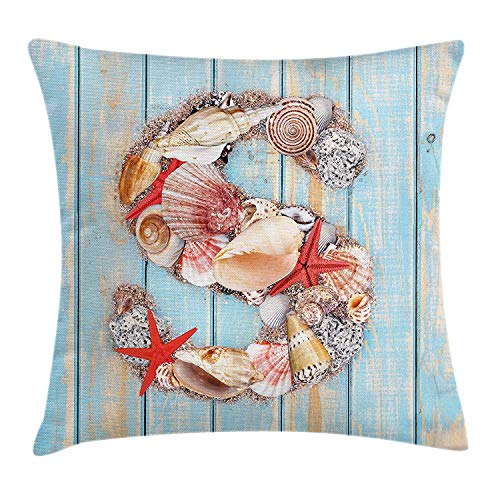 Xukmefat Letter S Various Seashells Scallops Starfishes on Wooden Planks NauticalPale Blue Ivory Dark Coral Ivory Scallop
